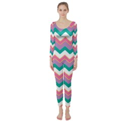 Chevron Pattern Colorful Art Long Sleeve Catsuit