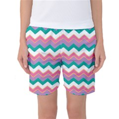 Chevron Pattern Colorful Art Women s Basketball Shorts