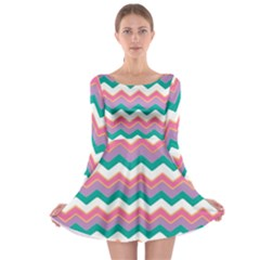 Chevron Pattern Colorful Art Long Sleeve Skater Dress