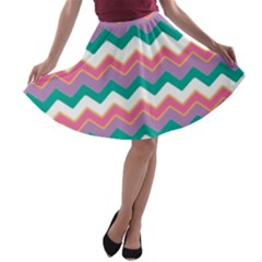 Chevron Pattern Colorful Art A-line Skater Skirt