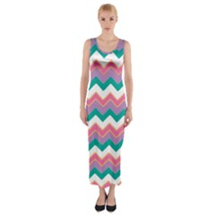 Chevron Pattern Colorful Art Fitted Maxi Dress