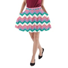 Chevron Pattern Colorful Art A Line Pocket Skirt