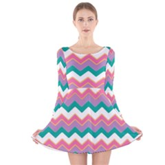 Chevron Pattern Colorful Art Long Sleeve Velvet Skater Dress