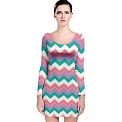 Chevron Pattern Colorful Art Long Sleeve Velvet Bodycon Dress