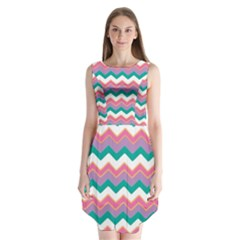 Chevron Pattern Colorful Art Sleeveless Chiffon Dress