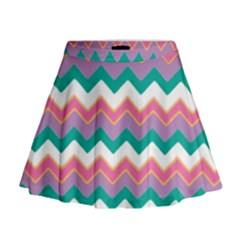 Chevron Pattern Colorful Art Mini Flare Skirt