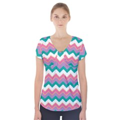 Chevron Pattern Colorful Art Short Sleeve Front Detail Top