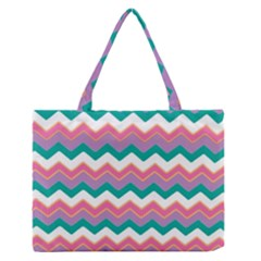 Chevron Pattern Colorful Art Medium Zipper Tote Bag