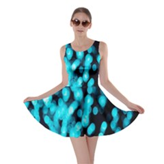 Bokeh Background In Blue Color Skater Dress