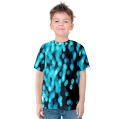Bokeh Background In Blue Color Kids  Cotton Tee