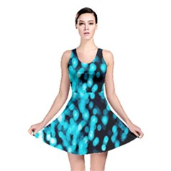 Bokeh Background In Blue Color Reversible Skater Dress