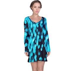 Bokeh Background In Blue Color Long Sleeve Nightdress