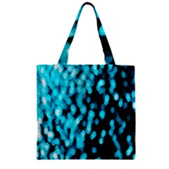 Bokeh Background In Blue Color Zipper Grocery Tote Bag
