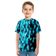 Bokeh Background In Blue Color Kids  Sport Mesh Tee
