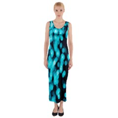 Bokeh Background In Blue Color Fitted Maxi Dress