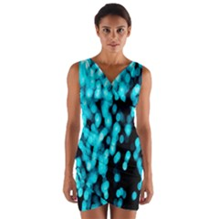 Bokeh Background In Blue Color Wrap Front Bodycon Dress