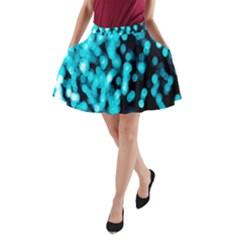 Bokeh Background In Blue Color A Line Pocket Skirt