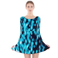 Bokeh Background In Blue Color Long Sleeve Velvet Skater Dress
