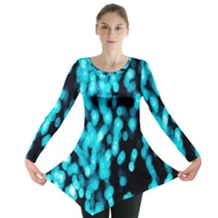 Bokeh Background In Blue Color Long Sleeve Tunic