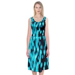 Bokeh Background In Blue Color Midi Sleeveless Dress