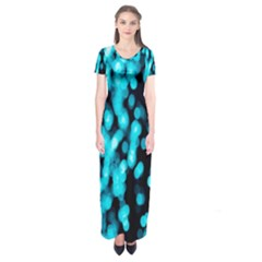 Bokeh Background In Blue Color Short Sleeve Maxi Dress