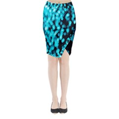 Bokeh Background In Blue Color Midi Wrap Pencil Skirt