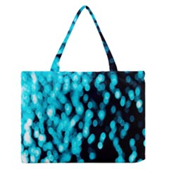 Bokeh Background In Blue Color Medium Zipper Tote Bag