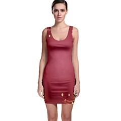 Red Background With A Pattern Sleeveless Bodycon Dress