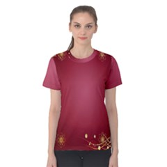 Red Background With A Pattern Women s Cotton Tee