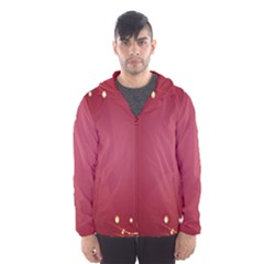 Red Background With A Pattern Hooded Wind Breaker (men)