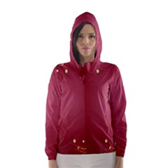 Red Background With A Pattern Hooded Wind Breaker (women)