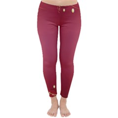 Red Background With A Pattern Classic Winter Leggings