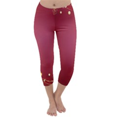 Red Background With A Pattern Capri Winter Leggings