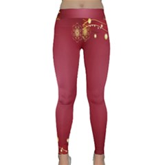 Red Background With A Pattern Classic Yoga Leggings
