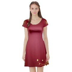 Red Background With A Pattern Short Sleeve Skater Dress