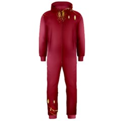 Red Background With A Pattern Hooded Jumpsuit (men)