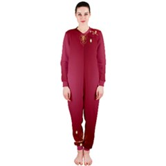 Red Background With A Pattern Onepiece Jumpsuit (ladies)