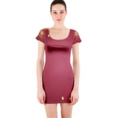 Red Background With A Pattern Short Sleeve Bodycon Dress