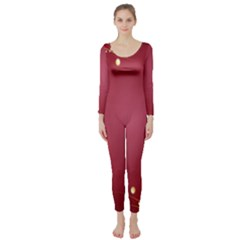 Red Background With A Pattern Long Sleeve Catsuit