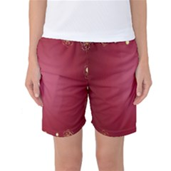 Red Background With A Pattern Women s Basketball Shorts