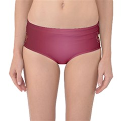 Red Background With A Pattern Mid Waist Bikini Bottoms