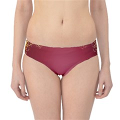 Red Background With A Pattern Hipster Bikini Bottoms