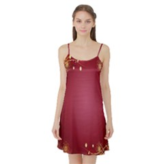Red Background With A Pattern Satin Night Slip