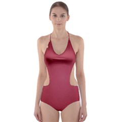 Red Background With A Pattern Cut Out One Piece Swimsuit