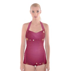 Red Background With A Pattern Boyleg Halter Swimsuit