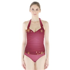 Red Background With A Pattern Halter Swimsuit