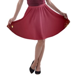 Red Background With A Pattern A Line Skater Skirt