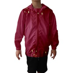 Red Background With A Pattern Hooded Wind Breaker (kids)