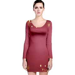 Red Background With A Pattern Long Sleeve Velvet Bodycon Dress