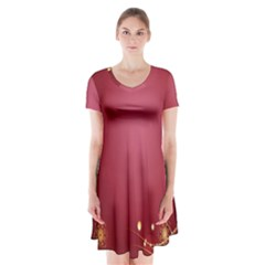 Red Background With A Pattern Short Sleeve V-neck Flare Dress